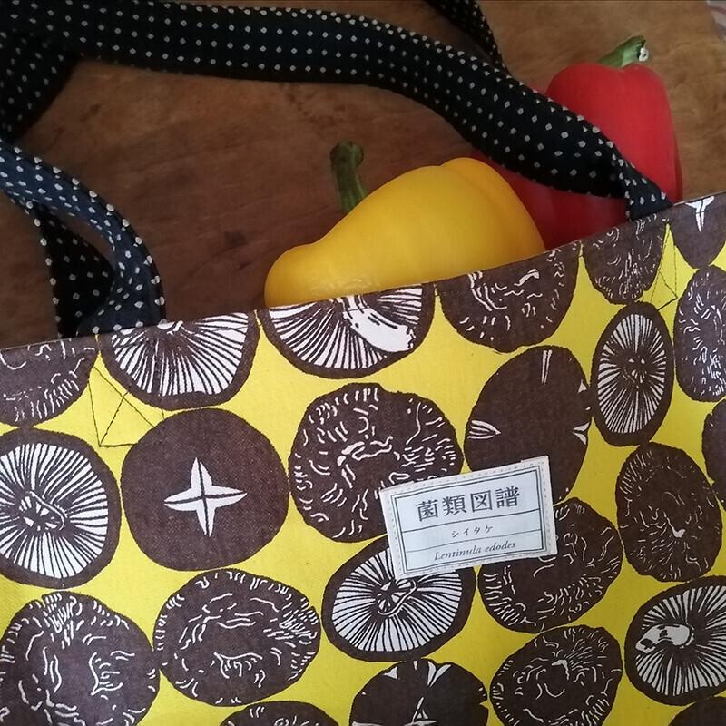 干し椎茸トートバッグ (黄色)